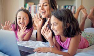 Image: Family Socializing together online