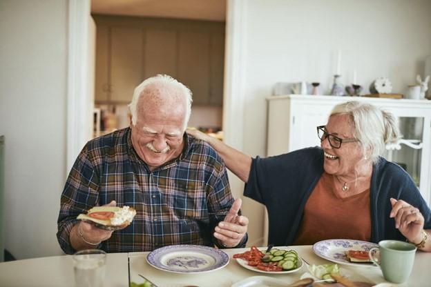 Image: senior couple having breakfast